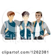 Clipart Of Three High School Students In Their Varsity Jackets Royalty Free Vector Illustration