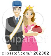 Clipart Of A High School Homecoming Or Prom King And Queen Royalty Free Vector Illustration by BNP Design Studio