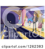 Clipart Of People Waiting To Board A Train In A Subway Station Royalty Free Vector Illustration