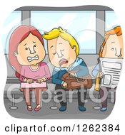 Clipart Of A Disgusted Woman Being Drooled On By Another Train Passenger Royalty Free Vector Illustration by BNP Design Studio