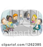 Clipart Of People Riding The Subway Train Royalty Free Vector Illustration