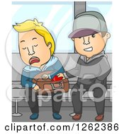 Clipart Of A Thief Stealing From A Man Sleeping On A Subway Train Royalty Free Vector Illustration