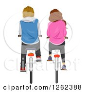 Clipart Of A Rear View Of A Couple Riding Bikes Royalty Free Vector Illustration