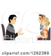 Clipart Of A Counselor Talking To A Couple Royalty Free Vector Illustration