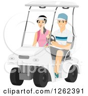 Clipart Of A Couple Riding In A Golf Cart Royalty Free Vector Illustration