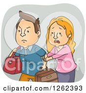 Clipart Of A Crying Woman Trying To Stop Her Husband From Leaving Royalty Free Vector Illustration