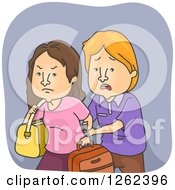 Clipart Of A Sad Husband Trying To Stop His Wife From Leaving Royalty Free Vector Illustration