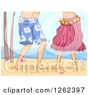 Clipart Of A Couple Hula Dancing On A Beach Royalty Free Vector Illustration