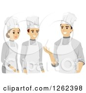 Clipart Of Young Culinary Arts Students And An Instructor Royalty Free Vector Illustration