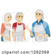 Clipart Of Culinary Arts Students And Teacher Royalty Free Vector Illustration