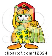 Clipart Picture Of A Price Tag Mascot Cartoon Character In Green And Yellow Snorkel Gear