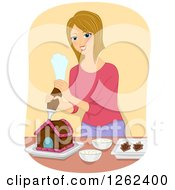 Clipart Of A Blond Caucasian Woman Decorating A Gingerbread House Royalty Free Vector Illustration