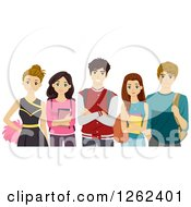 Clipart Of Cheerleader And High School Students Royalty Free Vector Illustration