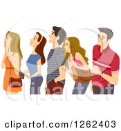 Clipart Of A Group Of Excited Teenagers Watching Royalty Free Vector Illustration by BNP Design Studio