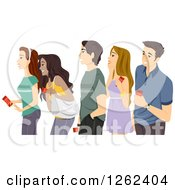 Clipart Of A Queue Of Excited Teenagers Holding Tickets Royalty Free Vector Illustration