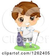 Clipart Of A Cute Brunette White Boy Golfer Royalty Free Vector Illustration
