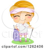 Clipart Of A Happy Caucasian Girl With Golfing Gear Royalty Free Vector Illustration by BNP Design Studio