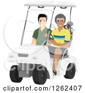 Clipart Of Men Riding In A Golf Cart Royalty Free Vector Illustration
