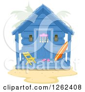Clipart Of A Beach Hut With A Surfboard On The Porch Royalty Free Vector Illustration