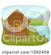 Clipart Of A Fishing Cabin On A Lake Royalty Free Vector Illustration