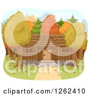 Clipart Of A Forest Cabin In Autumn Royalty Free Vector Illustration