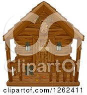 Clipart Of A Hunting Cabin With Autumn Leaves On The Porch Royalty Free Vector Illustration