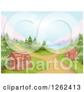 Clipart Of A Campground With Log Cabins And A Lake Royalty Free Vector Illustration