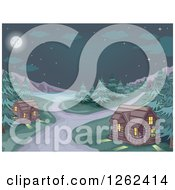 Clipart Of A Campground With Log Cabins And A Lake At Night Royalty Free Vector Illustration