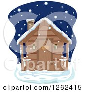 Clipart Of A Log Cabin On A Winter Night Royalty Free Vector Illustration