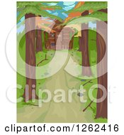 Clipart Of A Tree Lined Driveway Leading To A Log Cabin In The Woods Royalty Free Vector Illustration
