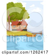 Clipart Of A Lake Front Cabin With A Boat And Dock Royalty Free Vector Illustration