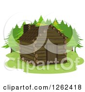 Clipart Of A Log Cabin In The Woods Royalty Free Vector Illustration