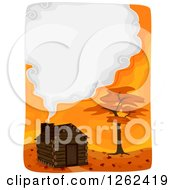 Clipart Of A Log Cabin And Autumn Tree With A Smoke Frame Royalty Free Vector Illustration