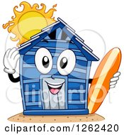 Clipart Of A Beach Cabin Character Holding A Surfboard Royalty Free Vector Illustration by BNP Design Studio