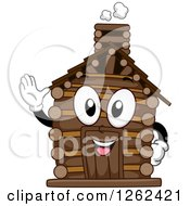 Clipart Of A Log Cabin Character Waving Royalty Free Vector Illustration by BNP Design Studio