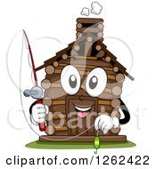 Clipart Of A Log Cabin Character Holding A Fishing Pole Royalty Free Vector Illustration by BNP Design Studio