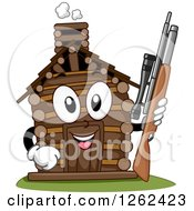 Clipart Of A Log Cabin Character Holding A Hunting Rifle Royalty Free Vector Illustration