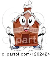 Clipart Of A Winter Cabin Character With Skis Royalty Free Vector Illustration