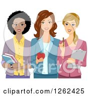 Clipart Of A Happy Trio Of Female Teachers Royalty Free Vector Illustration