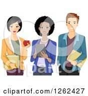 Clipart Of A Male And Two Female Teachers Royalty Free Vector Illustration