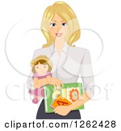 Clipart Of A Blond White Daycare Worker Woman Holding A Doll And Books Royalty Free Vector Illustration by BNP Design Studio