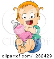 Clipart Of A Red Haired White Toddler Girl Hugging A Giant Bottle Royalty Free Vector Illustration