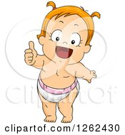 Red Haired White Toddler Girl In A Diaper Giving A Thumb Up