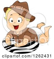 Clipart Of A Blond White Toddler Safari Girl On A Zebra Print Pillow Royalty Free Vector Illustration by BNP Design Studio
