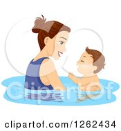 Clipart Of A Caucasian Mother Swimming With Her Toddler Son Royalty Free Vector Illustration