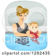 Clipart Of A Blond Caucasian Mother Swimming With Her Baby Son Royalty Free Vector Illustration
