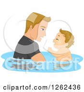 Clipart Of A Blond Caucasian Father Swomming With His Baby Son Royalty Free Vector Illustration