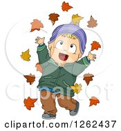 Clipart Of A Blond White Toddler Boy Playing In Autumn Leaves Royalty Free Vector Illustration