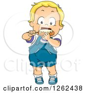 Clipart Of A Blond White Toddler Boy Eating A Corn Dog Royalty Free Vector Illustration