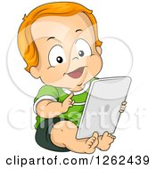 Clipart Of A Red Haired White Toddler Boy Using A Tablet Computer Royalty Free Vector Illustration